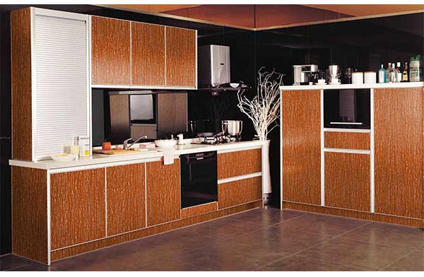 Wooden acp panels on the surface of cabinet