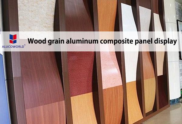 Wood grain aluminum composite panel display